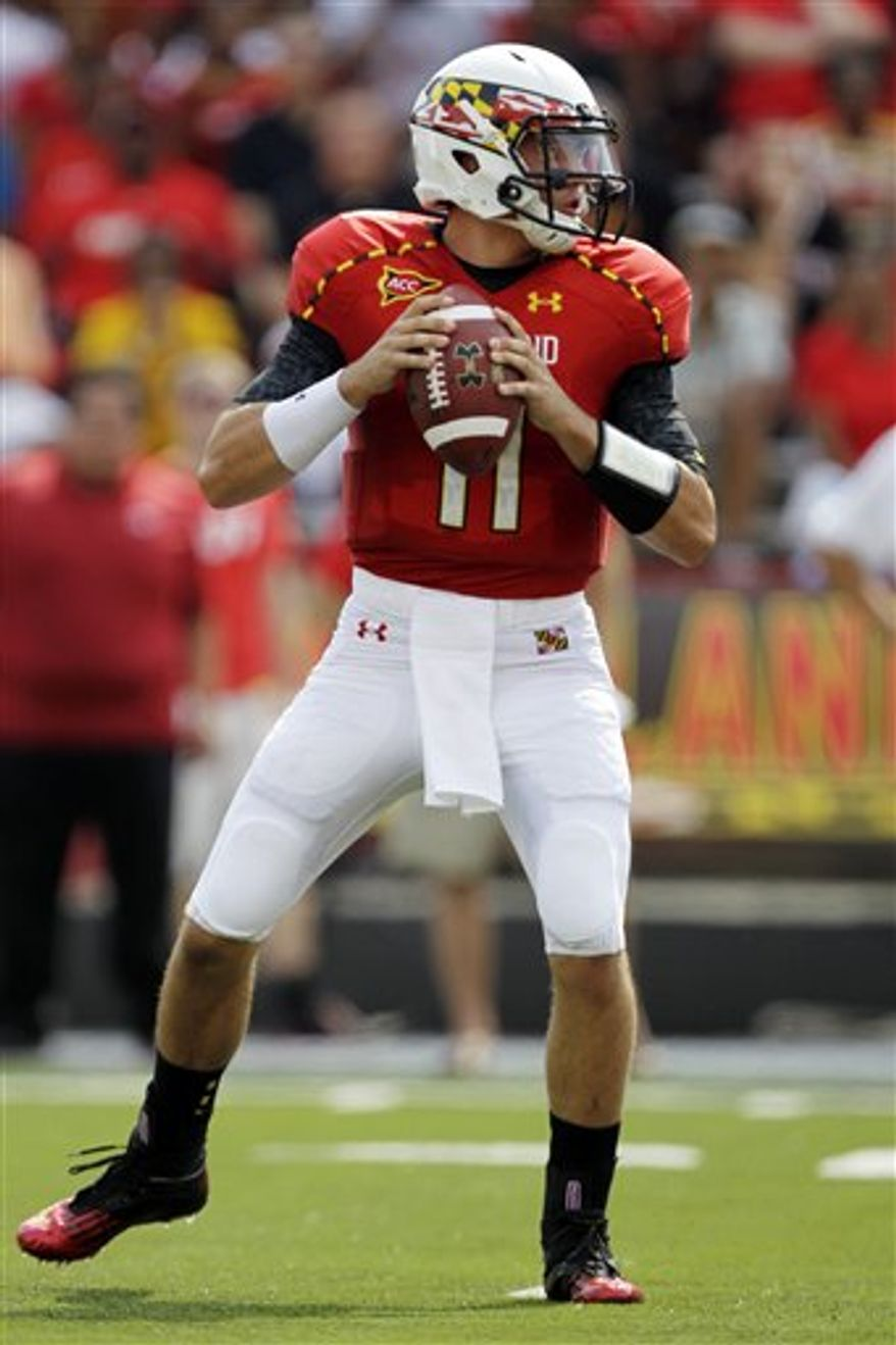 Maryland quarterback Perry Hills drops back for a pass during the first quarter of a college football game against William & Mary, Saturday, Sept. 1, 2012, in College Park, Md. Maryland won 7-6. (AP Photo/Luis M. Alvarez)