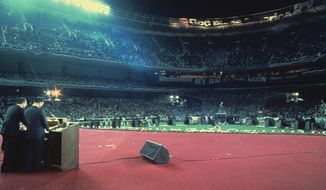 Rev. Moon leads a rally at Yankee Stadium in The Bronx, N.Y., on July 1, 1976. (HSA-UWC photographs)