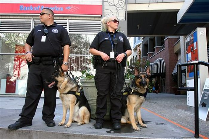 Charlotte Police K-9 units keep watch over the crowd as the Occupy Charlotte movement holds a protest march through the streets of uptown Charlotte, N.C. during the Democratic National Convention. (AP Photo/The Star, Ben Earp)