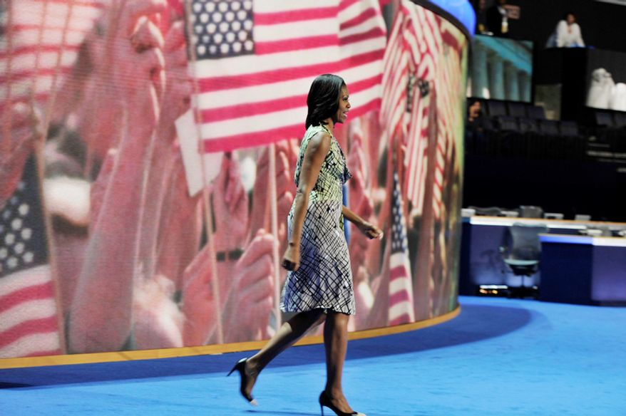 The First Lady of The United States, Michelle Obama, does a sound check in preparation for her speech tomorrow at the Democratic National Convention. (Barbara Salisbury/ The Washington Times)