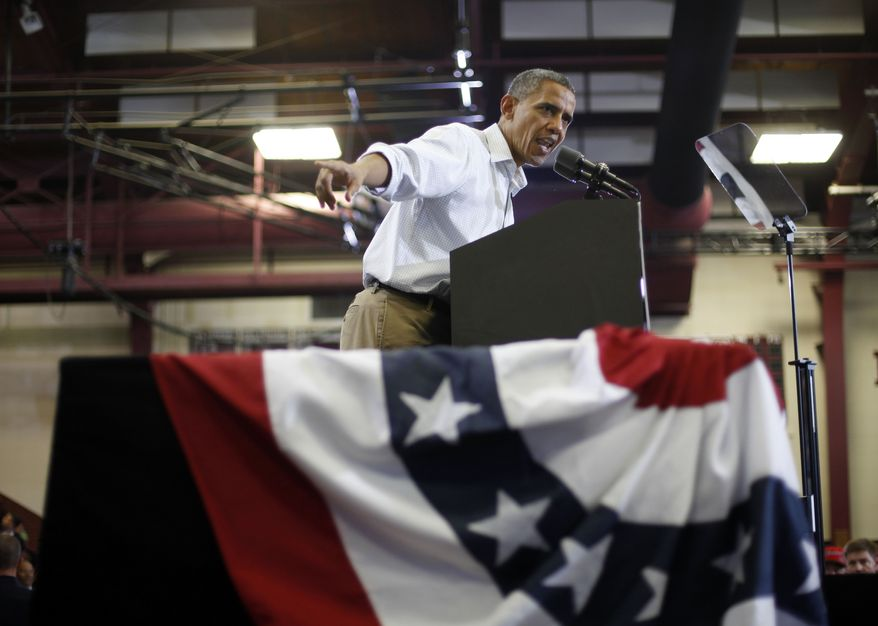 President Obama speaks to supporters at a campaign event at Scott High School in Toledo, Ohio, on Monday, Sept. 3, 2012. (AP Photo/Pablo Martinez Monsivais)