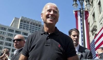 Vice President Joseph R. Biden makes a campaign appearance at the Metro Detroit AFL-CIO Labor Day Rally on Monday, Sept. 3, 2012, in Detroit. (AP Photo/Carolyn Kaster)