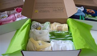 Merchandise from the subscription service website Whittlebee.com. A bevy of subscription services with names like FabKids.com and Kiwicrate.com have emerged over the past year that cater to parents who want help keeping their kids dressed and entertained. Whittlebee.com targets newborns to 5-year-old boys and girls. Members can specify style preferences and needs. (AP Photo/Whittlebee.com)
