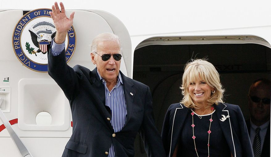 Vice President Joseph R. Biden and his wife, Jill, arrive in Charlotte, N.C., Tuesday for the Democratic National Convention. His enthusiasm and joviality are seen as assets. (Associated Press)