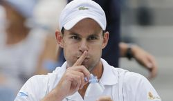 Andy Roddick gestures during his match with  Fabio Fogniniin the third round of play at the 2012 US Open tennis tournament,  Sunday, Sept. 2, 2012, in New York. (AP Photo/Mike Groll)