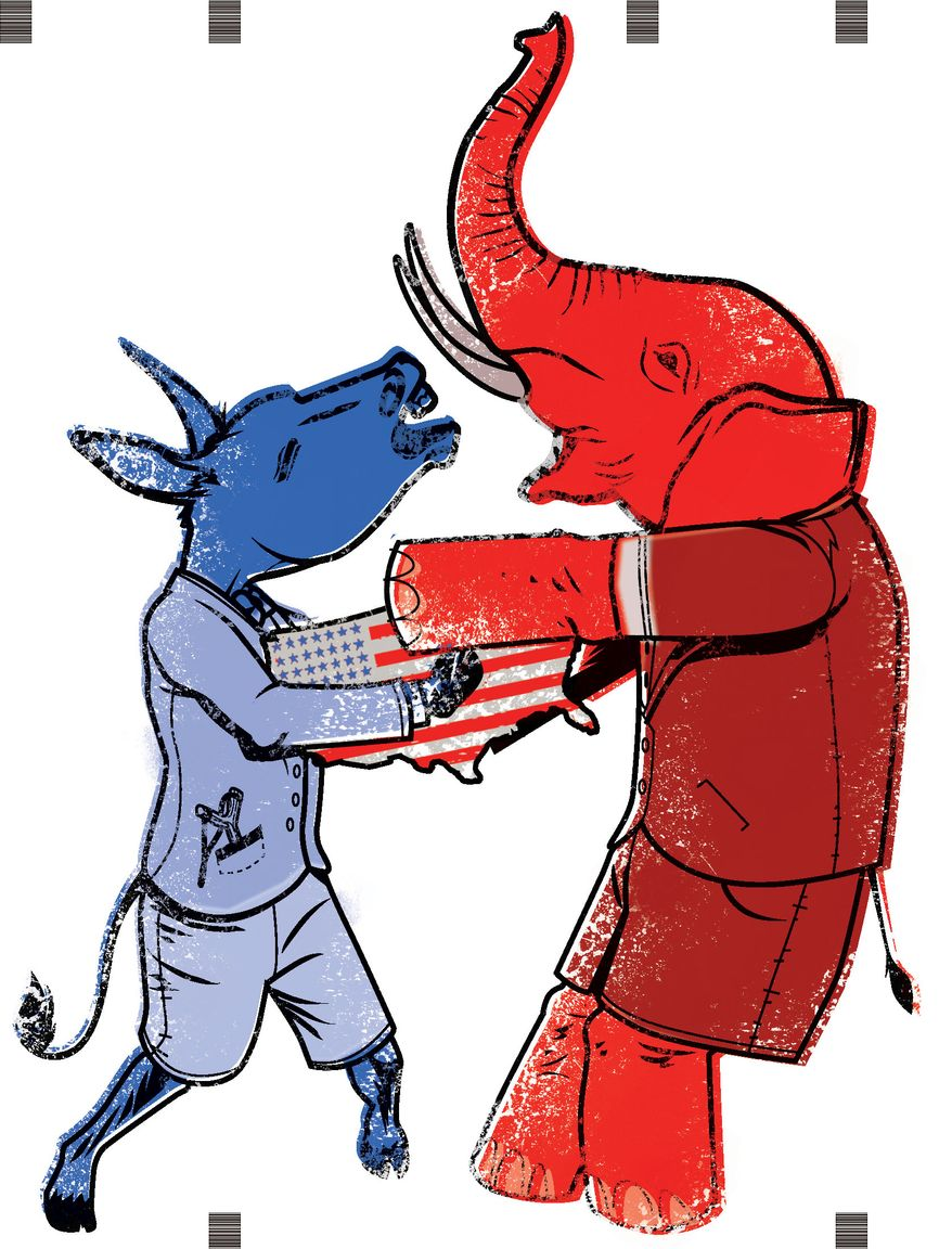 Illustration Fighting Over the Country by Linas Garsys for The Washington Times