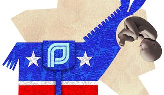 Illustration Abortion Donkey by Alexander Hunter for The Washington Times