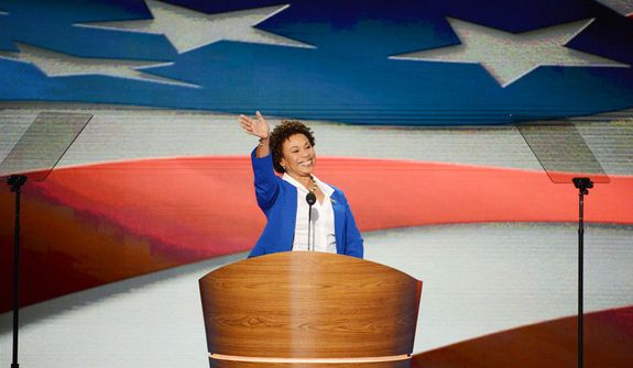 ** FILE ** Rep. Barbara Lee, California Democrat, addresses the Democratic National Convention in Charlotte, N.C., on Tuesday, Sept. 4, 2012. (Andrew S. Geraci/The Washington Times)