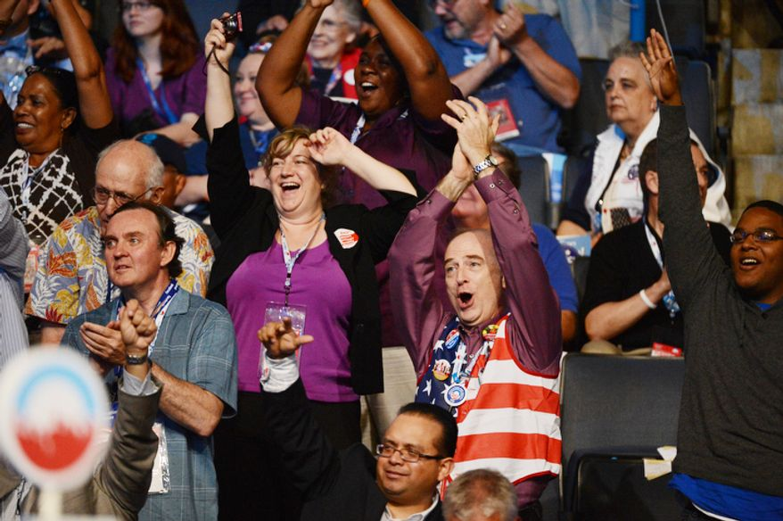 Democrats applaud as Cory A. Booker-D, Mayor of Newark, N.J. addresses the Democratic National Convention. (Andrew Geraci/ The Washington Times)