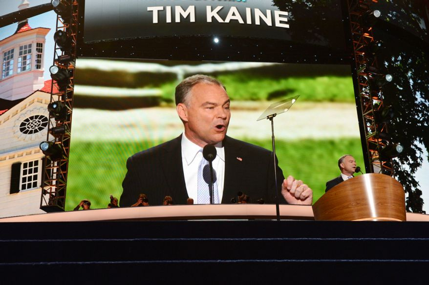 Tim Kaine, Candidate for the US Senate from Virginia, former Governor of Virginia and former Chairman of the Democratic National Committee addresses the Democratic National Convention. (Barbara Salisbury/ The Washington Times)