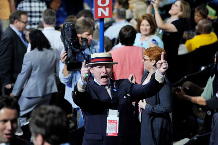 Washington delegate Karl de Jong, of Seattle, Wash., gets loud at the Democratic National Convention2. (Barbara Salisbury/ The Washington Times)