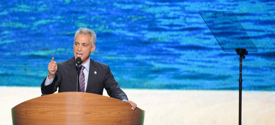 Rahm Emanuel, Mayor of Chicago, Ill., former White House Chief of Staff addresses the Democratic National Convention at the Time Warner Arena. (Andrew Geraci/ The Washington Times)