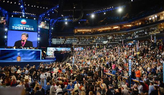 View of the first night of the Democratic National Convention at the Time Warner Arena in Charlotte, N.C., on Tuesday, September 4, 2012. (Andrew Geraci/ The Washington Times)