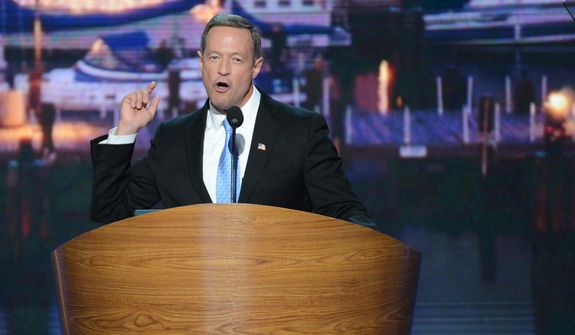 Maryland Governor Martin O'Malley addresses the Democratic National Convention at the Time Warner Arena in Charlotte, N.C., on Tuesday, September 4, 2012. (Andrew Geraci/ The Washington Times)