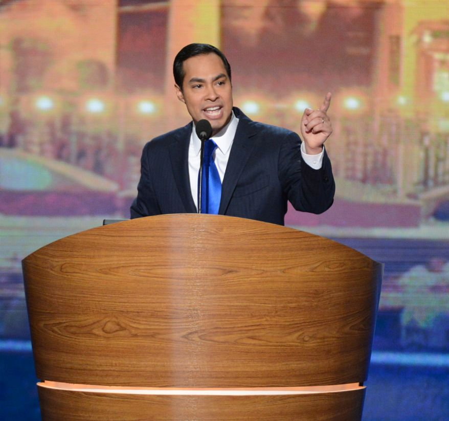 Julian Castro, mayor of San Antonio, delivers the keynote address on the opening night of the Democratic National Convention in Charlotte, N.C., on Tuesday, Sept. 4, 2012. (Andrew Geraci/The Washington Times)
