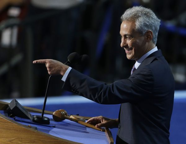 ** FILE ** Chicago Mayor Rahm Emanuel speaks Sept. 4, 2012, at the Democratic National Convention in Charlotte, N.C. (Associated Press)