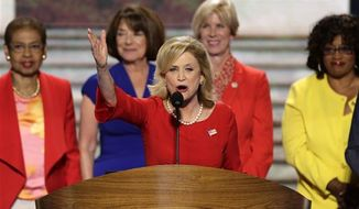 Rep. Carolyn Maloney of New York addresses the Democratic National Convention in Charlotte, N.C., on Tuesday, Sept. 4, 2012. (AP Photo/J. Scott Applewhite)