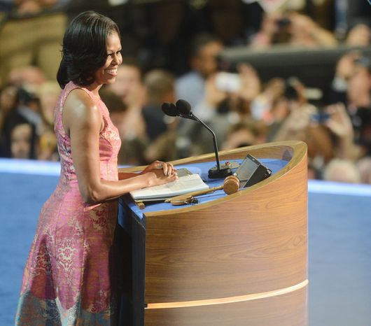 First lady Michelle Obama addresses the Democratic National Convention on Sept. 4, 2012, its opening night, at the Time Warner Arena in Charlotte, N.C. (Barbara L. Salisbury/The Wash