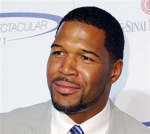 ** FILE ** This May 22, 2011, file photo shows former NFL football player Michael Strahan at the 26th Annual Sports Spectacular, the Hyatt Regency Hotel Century City in Los Angeles, Calif. Strahan is getting a permanent job in morning television as Kelly Ripa's co-host. (AP Photo/Katy Winn, file)