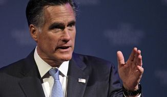 **FILE** Republican presidential candidate Mitt Romney speaks Aug. 29, 2012, in Indianapolis. (Associated Press)