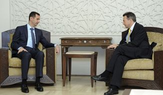 "Syrian President Bashar Assad (left) meets with Peter Maurer, president of the International Committee of the Red Cross, in Damascus, Syria, on Tuesday, Sept. 4, 2012. Mr. Assad told Mr. Maurer that the Red Cross is welcome to operate on the ground in the country as long as it remains ""neutral and independent,"" the SANA state news agency reported. (AP Photo/SANA)"