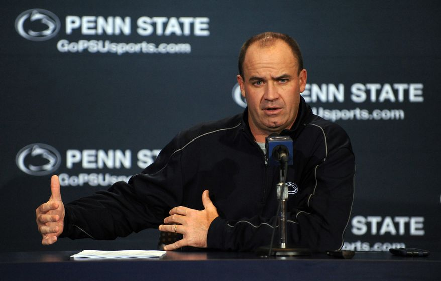 Penn State football coach Bill O'Brien speaks at his weekly news conference in State College, Pa., Tuesday, Sept. 4, 2012. (AP Photo/Centre Daily Times, Nabil k. Mark)