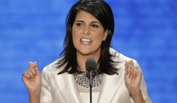 ** FILE ** South Carolina Gov. Nikki Haley addresses the Republican National Convention in Tampa, Fla., on Aug. 28, 2012. (Associated Press)