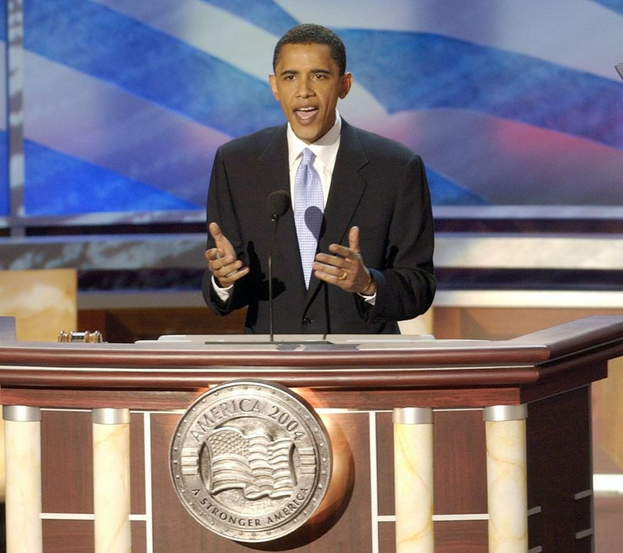 As keynote speaker at the 2004 Democratic National Convention in Boston, Barack Obama enchanted his audience with a message of hope, change and unity. In 2008, as a young, energetic and charismatic presidential candidate, he won over voters with his call for a new kind of Washington politics. (The Washington Times)