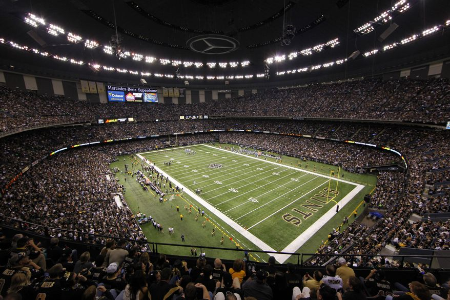 Interior views of the Mercedes-Benz Superdome during the third quarter of an NFL football game between the New Orleans Saints and the Carolina Panthers in New Orleans, Sunday, Jan. 1, 2012. (AP Photo/Bill Haber)