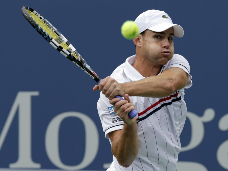 Andy Roddick watches the ball during his match with Argentina's Juan Martin Del Potro in the fourth round of play at the 2012 US Open tennis tournament,  Wednesday, Sept. 5, 2012, in New York. (AP Photo/Charles Krupa)