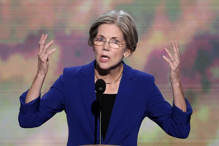 Elizabeth Warren, Massachusetts Senate candidate, addresses the Democratic National Convention in Charlotte, N.C., on Wednesday, Sept. 5, 2012. (Associat