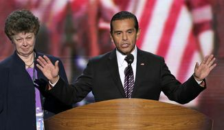 Former Los Angeles Mayor and Democratic Convention Chairman Antonio Villaraigosa calls for a vote to amend the platform at the Democratic National Convention in Charlotte, N.C., on Sept. 5, 2012. (Associated Press) ** FILE **