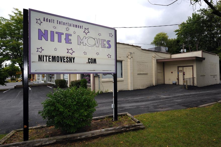 Nite Moves Gentlemen's club in Latham, N.Y., is seen here on Sept. 5, 2012. (Associated Press/The Albany Times Union)