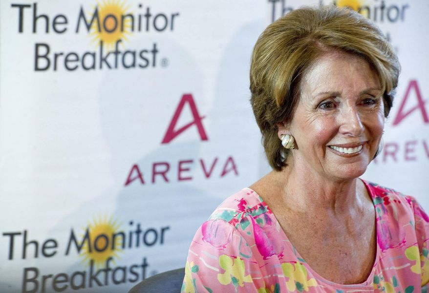House Minority Leader Nancy Pelosi, California Democrat, speaks at a breakfast news briefing Wednesday, Sept. 5, 2012, sponsored by the Christian Science Monitor. (Ann Hermes/The Christian Science Monitor)
