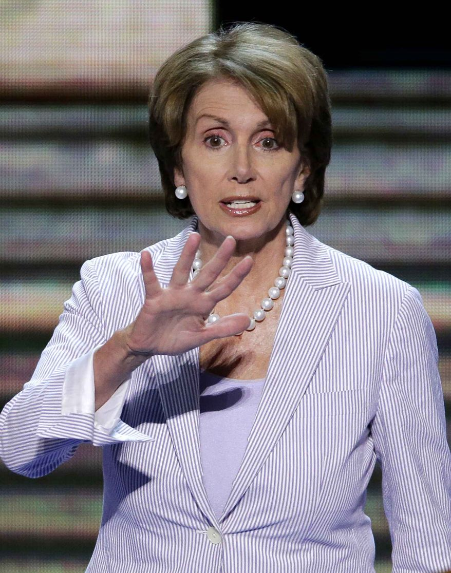 House Minority Leader Nancy Pelosi of California looks over the convention floor during a sound check at the Democratic National Convention in Charlotte, N.C., on Monday, Sept. 3, 2012. (AP Photo/J. Scott Applewhite)