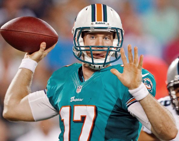 Miami Dolphins' Ryan Tannehill (17) prepares to throw a pass against the Carolina Panthers during the first quarter of a preseason NFL football game in Charlotte, N.C., Friday, Aug. 17, 2012. (AP Photo/Chuck Burton)