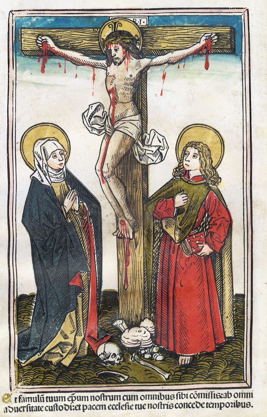 Augsburg 15th century (Attributed to Hans Burgkmair), Christ on the Cross With the Virgin and Saint John, 1493, color woodcut (National Gallery of Art photograph)