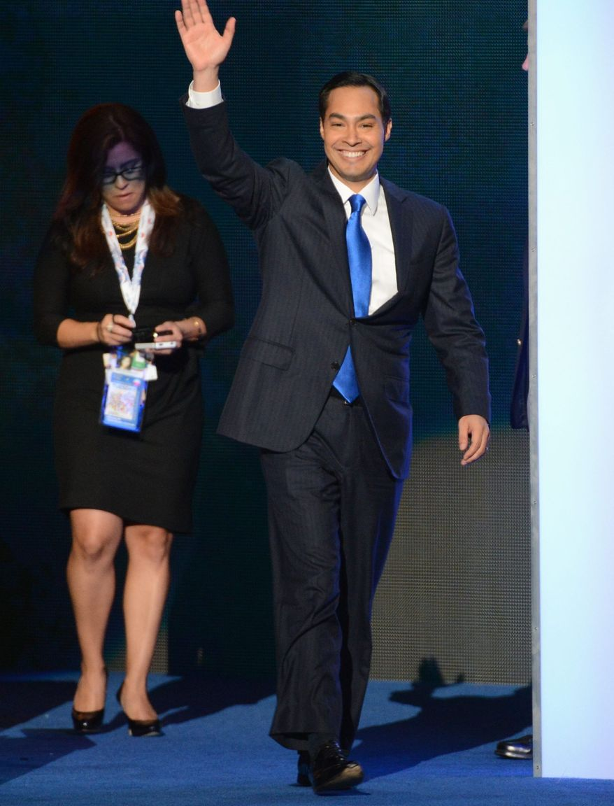 Julian Castro, the mayor of San Antonio, who delivered the keynote address on the opening night of the Democratic National Convention on Tuesday, is part of a new generation of Democrats seen as capable of breaking the GOP grip on statewide office. (Andrew Geraci/ The Washington Times)