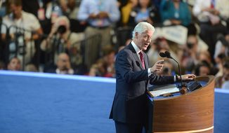 Former President Bill Clinton addresses the Democratic National Convention at the Time Warner Cable Arena in Charlotte, N.C., on Wednesday, Sept. 5, 2012. (Barbara Salisbury/The Washington Times)
