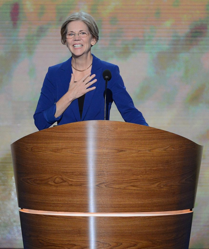 Elizabeth Warren, candidate for US Senate in Massachusetts addresses the Democratic National Convention at the Time Warner Arena in Charlotte, N.C., on Wednesday, September 5, 2012. (Andrew Geraci/ The Washington Times)