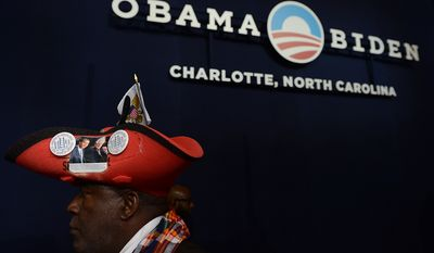 """Virgin Islands delegate Edgar """"Baker"""" Phillips listens to speeches at the Democratic National Convention at the Time Warner Arena in Charlotte, N.C., on Wednesday, September 5, 2012. (Barbara Salisbury/ The Washington Times)"""