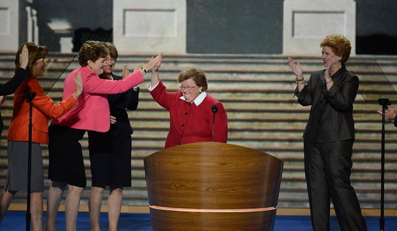 Sen. Barbara Mikulski, D-Md. leads an address by the Women of the Senate at the Democratic National Convention at the Time Warner Arena in Charlotte, N.C., on Wednesday, September 5, 2012. (Andrew Geraci/ The Washington Times)