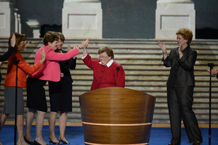 Sen. Barbara Mikulski, D-Md. leads an address by the Women of the Senate at the Democratic National Convention at the Time Warner Arena in Charlotte, N.C., on Wednesday, September 5, 2012. (Andrew Geraci/ The W
