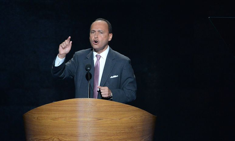 ** FILE ** Rep. Luis V. Gutierrez, Illinois Democrat, addresses the Democratic National Convention at the Time Warner Arena in Charlotte, N.C., o