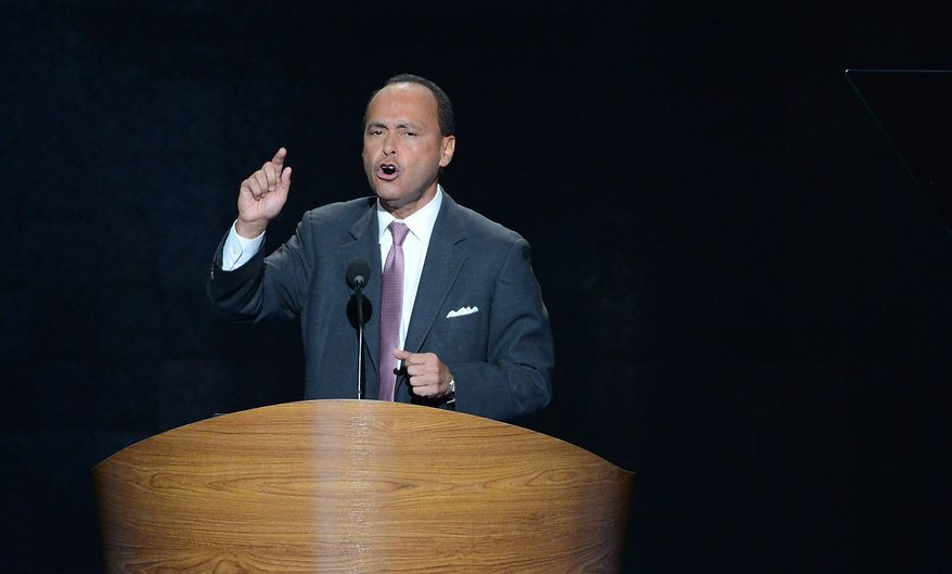 ** FILE ** Rep. Luis V. Gutierrez, Illinois Democrat, addresses the Democratic National Convention at the Time Warner Arena in Charlotte, N.C., on Wednesday, Sept. 5, 2012. (Andrew Geraci/The Washington Times)
