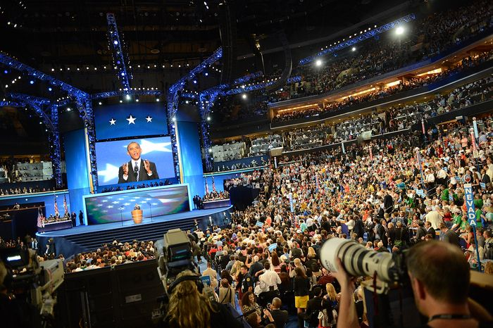 President Barack Obama accepts his party's nomination for a second term as President of the United States at the Democratic National Convention in the Time Warner Cable Are