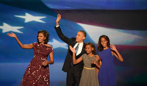 President Barack Obama accepts his party's nomination for a second term as President of the United States at the Democratic National Convention in the Time Warner Cable Arena in Charlotte, N.C., on Thursday, September 6, 2012. (Andrew Geraci/ The Washington Times)
