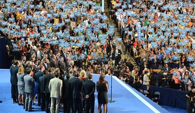 Admiral John B. Nathman United States Navy, Retired, honors America's military veterans and promotes President Barack Obama policies for veterans at the Democratic National Convention in the Time Warner Cable Arena in Charlotte, N.C., on Thursday, September 6, 2012.  (Barbara Salisbury/ The Washington Times)