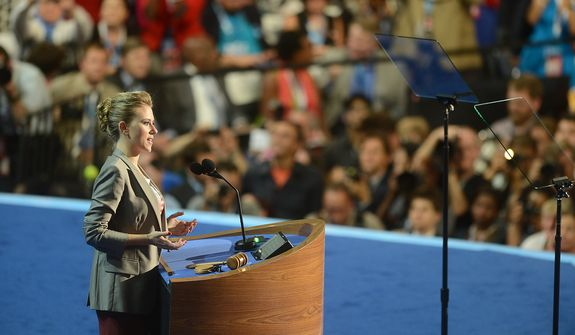 Actress Scarlett Johansson voices her support for President Barack Obama as his party's nomination for a second term as President of the United States at the Democratic National Convention in the Time Warner Cable Arena in Charlotte, N.C., on Thursday, September 6, 2012. (Barbara Salisbury/ The Washington Times)