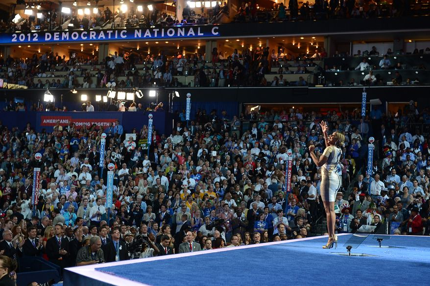 Mary J. Blige takes the stage to sing on the night that President Barack Obama accepts his party's nomination for a second term as President of the United States at the Democratic National Convention in the Time Warner Arena in Charlotte, N.C., on Thursday, September 6, 2012.(Barbara Salisbury/ The Washington Times)